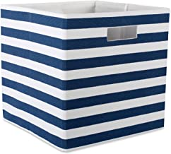 DII CAMZ37954 Foldable Fabric Storage Container 13 x 13 x 13, Stripe Nautical Blue, Large