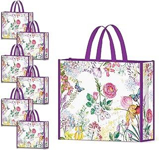 NymphFable 6 Pièces Sac Courses Reutilisable Fleurs Violet Cabas de Courses Lavables Pliable Eco Grand Sac Femme