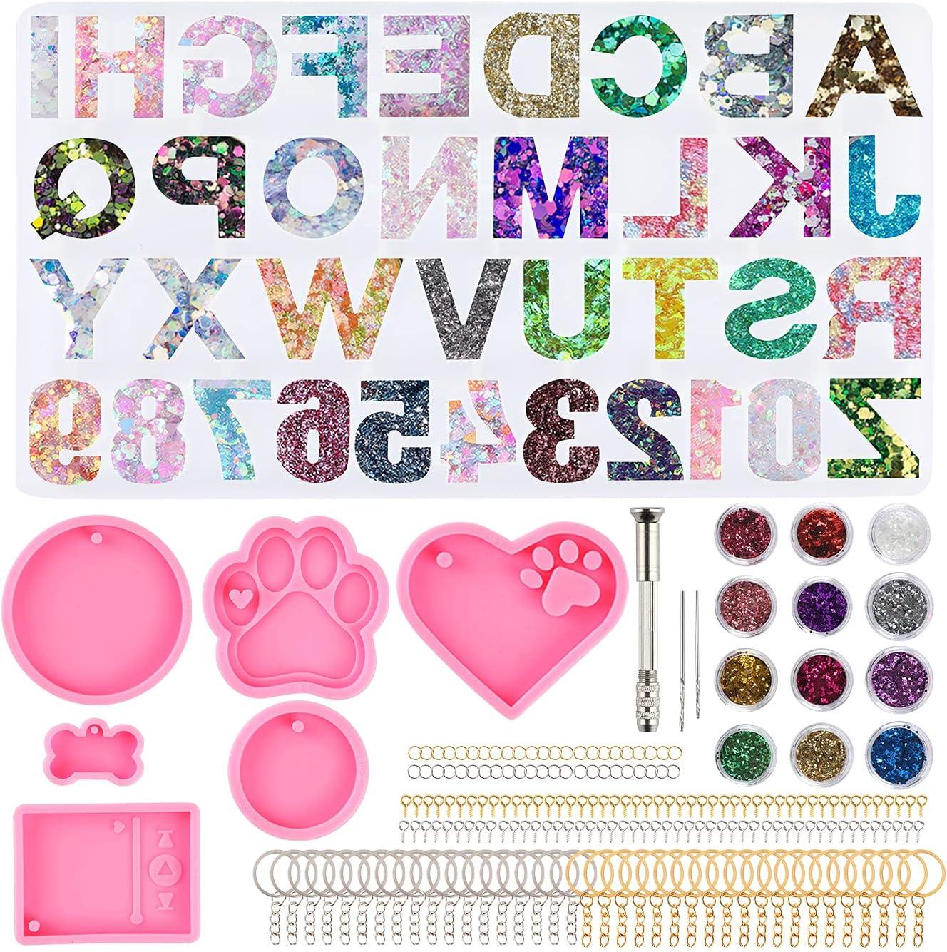 262Pcs Alphabet Epoxy Resin Keychain online shop - Kit Silicone Molds gift