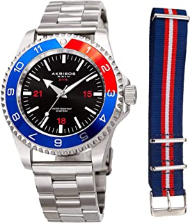 Akribos XXIV AK1002 Men's Diver Watch – Interchangeable Band, Stainless Steel Link Bracelet Nylon NATO Strap - Designer Sports Wrist Watch