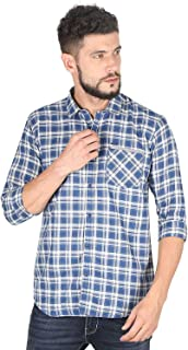 Twills Slimfit Checks Casual Cotton Shirt for Men Blue (Size - _S)