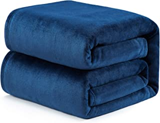Bedsure Flannel Fleece Blanket - 300GSM NANOTEX Microfiber Blanket, Resists Spills & Releases Stains - All-Season Couch Blanket, Office Lap, Travel Camping Blanket Twin 60 x 80 inches, Navy Blue