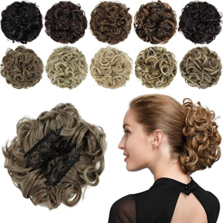 Amazon Com Rosebud Chignon Hairpiece Curly Bun Extensions Scrunchie Updo Hair Pieces Synthetic Combs In Messy Bun Hair Piece For Women Beauty