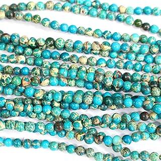 Tacool Natural Genuine Blue Sea Sediment Jasper Round Gemstone Jewelry Making Loose Beads (4mm)