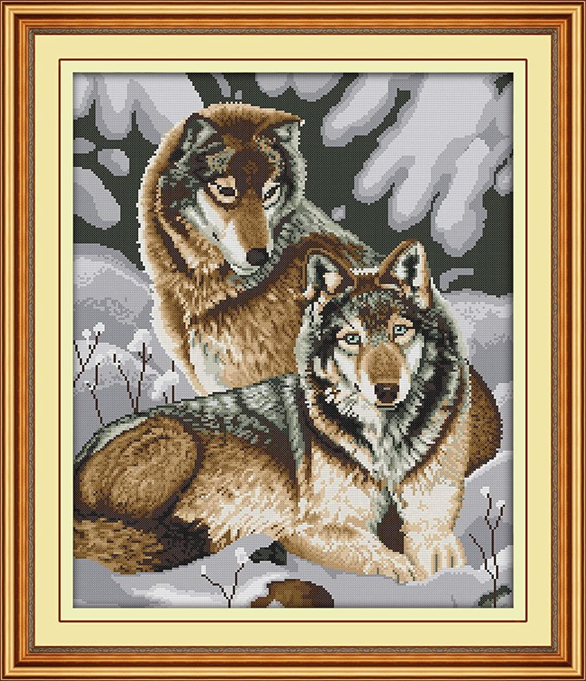 Joy Sunday Cross Stitch Kit 14CT Stamped Embroidery Kits Precise Printed Needlework - Snow Wolves 44×52CM