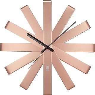 Umbra Ribbon Modern 12-inch, Battery Operated Quartz Movement, Silent Non Ticking Wall Clock, Copper