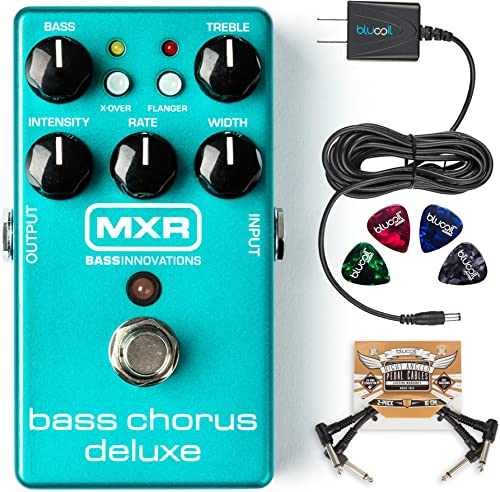 new arrival MXR discount M83 high quality Bass Chorus Deluxe Pedal Bundle with Blucoil Slim 9V 670ma Power Supply AC Adapter, 2-Pack of Pedal Patch Cables, and 4-Pack of Celluloid Guitar Picks online