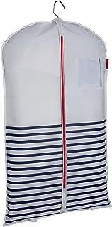 """COMPACTOR Housse Courte pour Vêtements, Fermeture Zippée Anti-Poussière, Bleu et Blanc """"Marinière"""", 60 x H. 100 cm, RAN5298"""