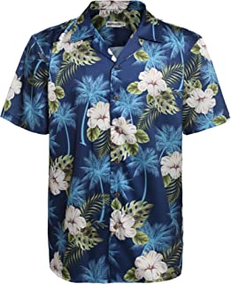 Men's Hawaiian Aloha Shirt Short Sleeve Tropical Floral Print Button Down Shirt