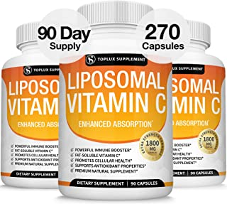 Liposomal Vitamin C 1800mg Pure Natural Supplement - High Absorption Fat Soluble VIT C Immune Support, Collagen Booster, I...