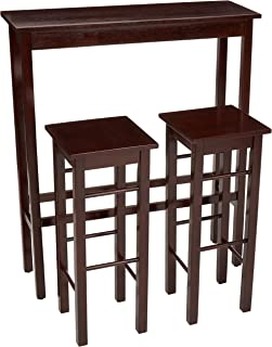 AmazonBasics – Juego de mesa auxiliar y taburetes de desayuno 3piezas color marrón Espresso