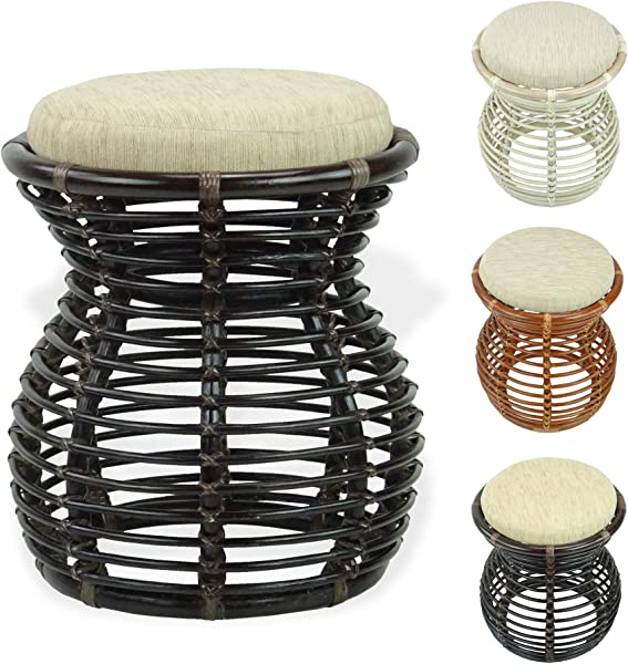 SK New Interiors Milan Handmade Natural Rattan Wicker Ottoman Stool Vanity Bedroom Fully Assembled Dark Brown