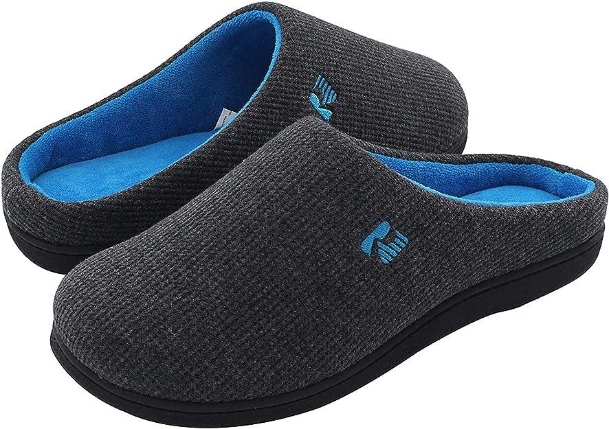 RockDove Men's Original Two-Tone Memory Foam Slipper, Size 10.5 US Men, Dark Gray/Blue