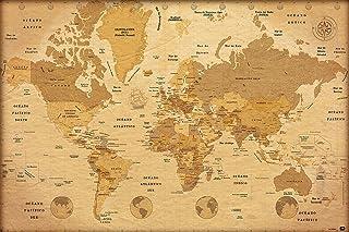 Póster Mapa del mundo Vintage/Estilo antiguo