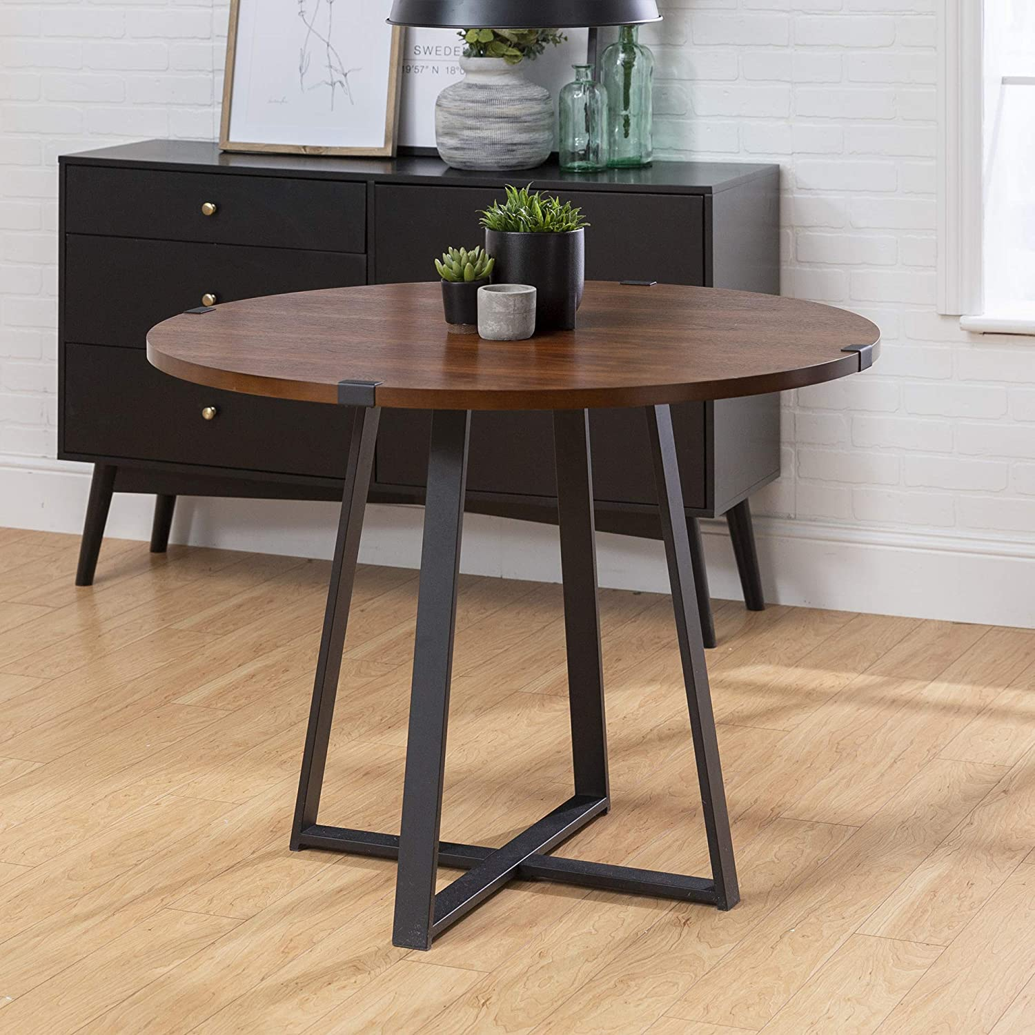 Walker Edison 9 Person Round Industrial Modern Wood Small  Dining  Table   Dining Room Kitchen  Table  Set  Dining Chairs Set Walnut Brown/Black90  Inch