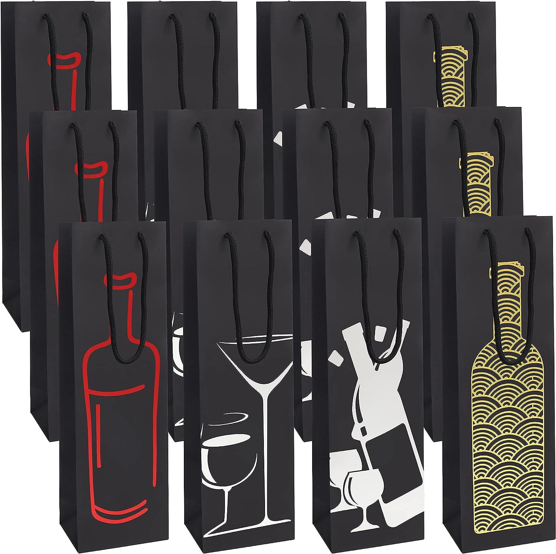 BELLE VOUS Bolsa Botella Vino Negra (Pack de 12) Bolsas para Regalos 4 Diseños - Bolsas Papel con Asas de Cuerda - Bolsas para Vino, Champan para Cumpleaños, Cenas, Aniversarios, Casa Nueva