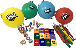 Superhero Party Favors- 12 Punch Balls, 12 Wristbands, 12 Stampers, Sticker Roll and Bonus