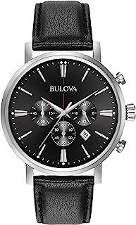 Bulova Men's Stainless Steel Analog-Quartz Watch with Leather Strap, Black, 20 (Model: 96B262)
