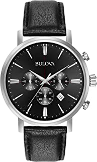 Bulova Men's Stainless Steel Analog-Quartz Watch with Leather Strap, Black, 20 (Model: 96B262)