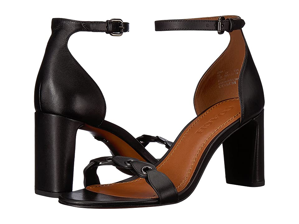 COACH Heel Sandal (Black Link Leather) High Heels