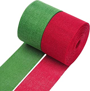 Livder 2 Rolls Faux Burlap Christmas Ribbons for Christmas Tree Gift Wrap Decoration, 394 by 2.4 Inch (Red, Green)