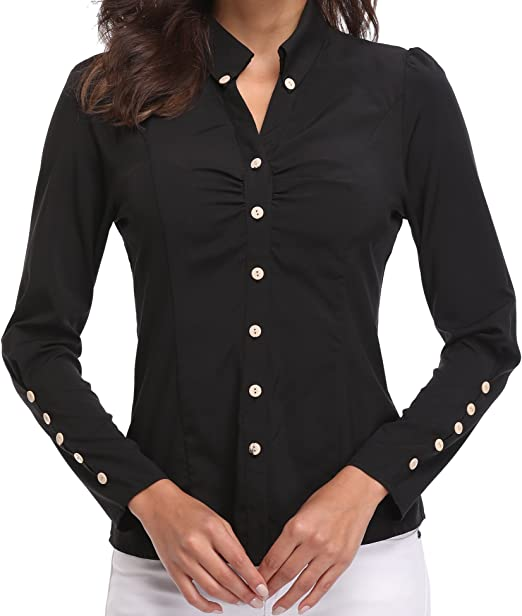 Camisas y Blusas para Mujeres Oficina señoras Ladies V Cuello Casual Tops Casuales Mangas largas abotonadas Fruncen el Frente Formal Workwear