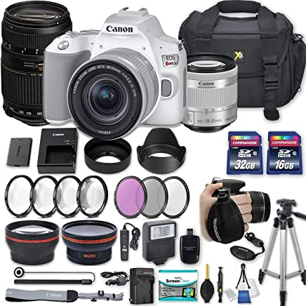 """$749 Get Canon EOS Rebel SL3 DSLR Camera (White) with EF-S 18-55mm f/4-5.6 is STM Lens + 70-300mm f/4-5.6 Lens + 2 Memory Cards + 2 Auxiliary Lenses + HD Filters + 50"""" Tripod + Premium Accessories Bundle"""