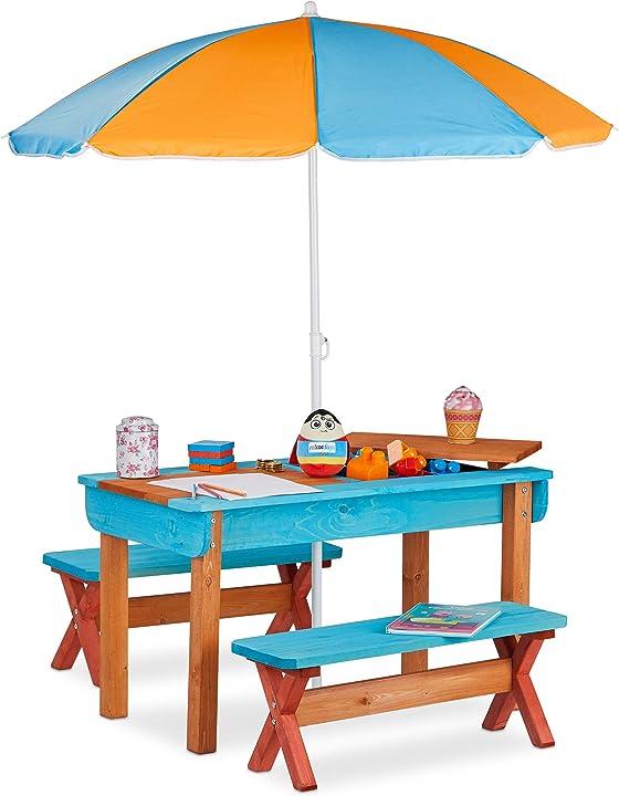 Tavolo da giardino per bambini con ombrellone , in legno colorato - relaxdays 10026032