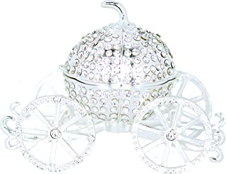 VI N VI Silver Rhinestone Princess Cinderella Crystal Pumpkin Carriage Trinket Box, Jewelry Box with Detachable Pumpkin/Hand Painted Collectible Figurine and Decorative Jewelry Display, Holder, and