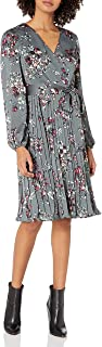 Women's Floral Faux Wrap Dress with Pleated Skirt