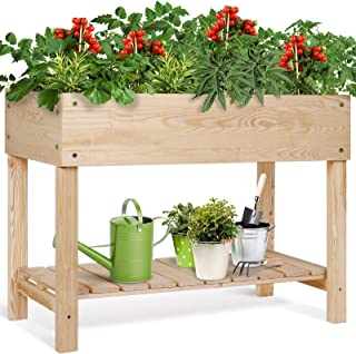 TUSY Urban Raised Garden Bed Planter Box Solid Pine Wood Elevated Garden Bed with Legs & Shelf for Vegetables/Flowers/Herb...