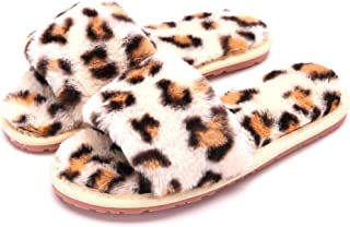 Crazy Lady Women's Fuzzy Fluffy Furry Fur Slippers Flip Flop Open Toe Cozy House Sandals Slides Soft Flat Comfy Anti-Slip Spa Indoor Outdoor Slip on