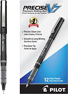 PILOT Precise V7 Stick Liquid Ink Rolling Ball Stick Pens, Fine Point, Black Ink, Dozen Box (35346)