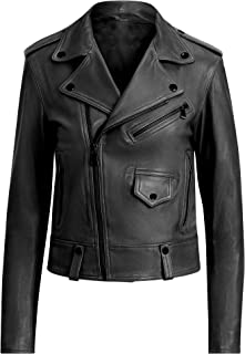 VearFit Motoevo Biker Designer Gray, Red, Tan, Pink and Black Real Leather Jacket for Women
