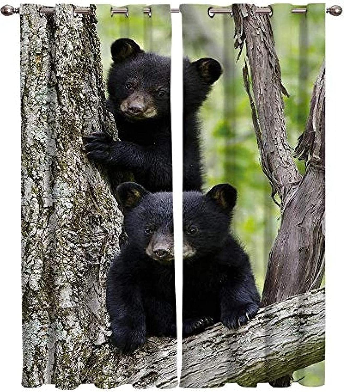 XKSJWY Max 60% OFF Kitchen Curtains Black Bear Landscape Trees Award Plants 104X95