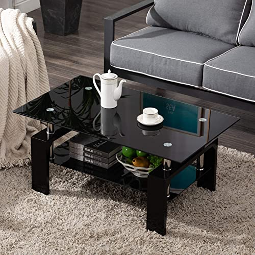 high quality Living online sale Room Rectangle Glass Coffee Table, Modern Living Room Table with Lower Shelf, Black lowest Tempered Glass Top with Black Color Wooden Legs,Living Room Furniture,Waiting Area Table outlet online sale