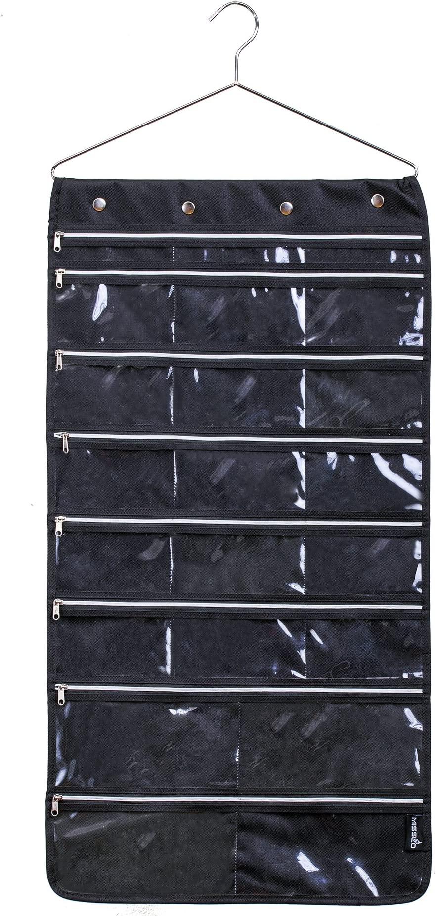 Misslo 44 Pockets Oxford Hanging Jewelry Organizer with Zipper Hanger, Black