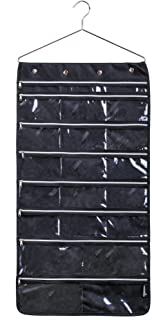 MISSLO 44 Pockets Oxford Hanging Jewelry Organizer with Zipper Hanger (Black)