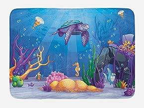 Ambesonne Turtle Bath Mat, Underwater World Cartoon Style Illustration Funny Fish Jellyfish Sea Horse, Plush Bathroom Decor Mat with Non Slip Backing, 29.5