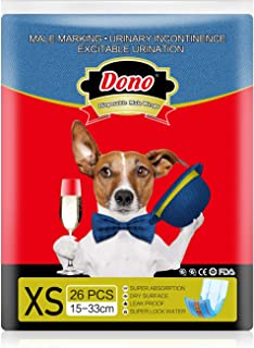 DONO Disposable Dog Diapers Male Dogs Jeans Super Absorbent Soft Pet Diapers for Male Puppy Dogs, Excitable Urination, or Incontinence