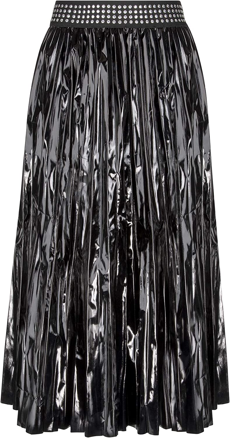 Glam and Gloria Womens Pleated Black Faux Leather Vinyl Midi Skirt with Studs