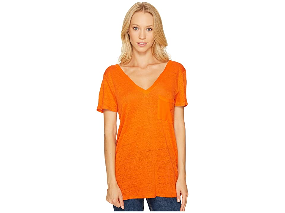 Three Dots Flutter Sleeve Tee (Hot Sun) Women
