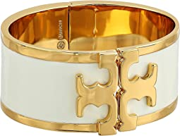 Enamel Raised Logo Wide Cuff Bracelet