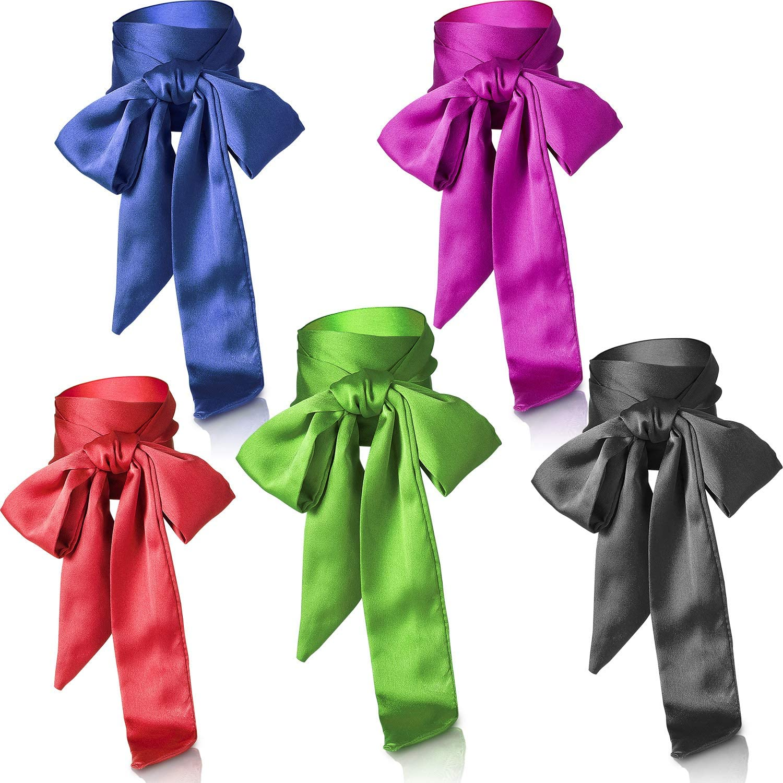 5PiecesSilkSkinnyScarfHeadbandSolidColorSatinScarfNeckWristRibbonScarf
