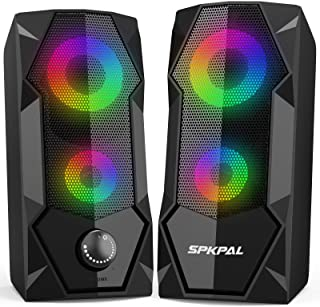 Computer Speakers SPKPAL RGB Gaming Speaker PC 2.0 Wired USB Powered Stereo Volume Control Dual...