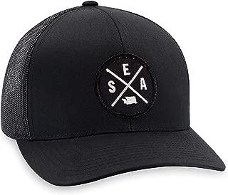 SEA Hat – Seattle Trucker Hat Baseball Cap Snapback Golf Hat (Black)