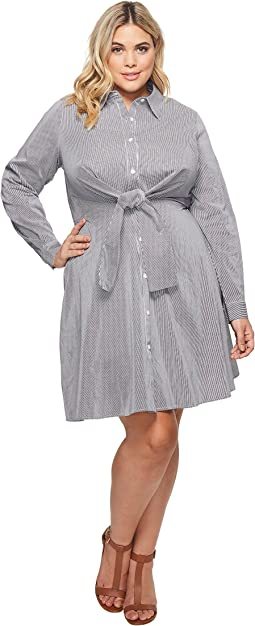 KARI LYN - Plus Size Emery Striped Button Up Dress