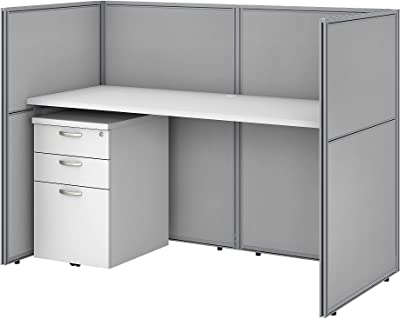 Bush Business Furniture Easy Office Cubicle Desk with File Cabinet and Closed Panels Workstation, 60W x 45H, Pure White