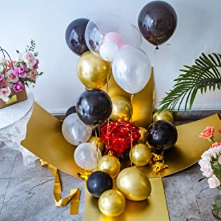 Large Gift Box Surprise - Explosion Gift Box 19x19x19'' with Lid and Ribbon, 12'' Heart Shaped Balloons and Latex Balloons, Surprise Box for Birthday, Christmas, Party, Marriage Proposals – Gold