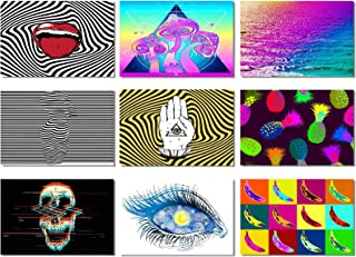 9X Poster Psychedelic Trippy Abstract Pop Art Style Banana Mushrooms Eye Pyramid Starry Night Prints Wall 47.2x31.5inch (120x80cm) (1-9)